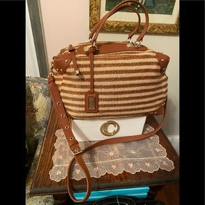 "Badgley Mischka straw bag ""Clio"""
